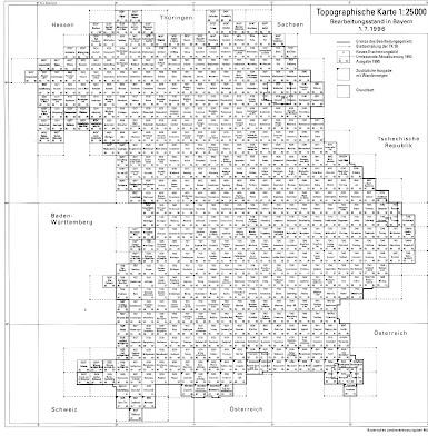 Read more about the article Blattschnitt: Topographische Karte von Bayern 1:25.000, 1:50.000, 1:100.000 & 1:200.000