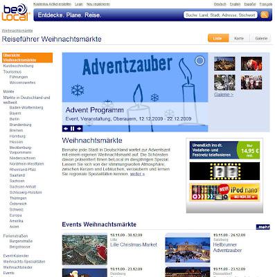 Read more about the article belocal.de mit Reiseführer Weihnachtsmärkte