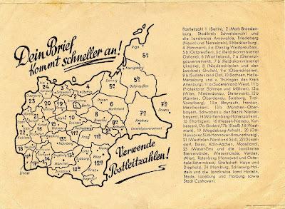 Read more about the article Postleitzahlenkarte von Deutschland aus den Jahren 1943 und 1946