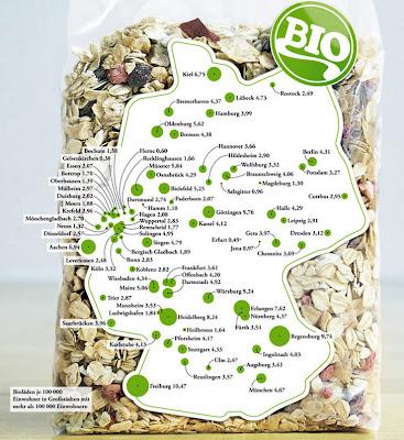Read more about the article Deutschlandkarte: Bioläden in Deutschland. Gelsenkirchen braucht sowas nicht und Freiburg liebt es.