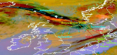 Read more about the article Eumetsat: Aktuelles Satellitenbild der Aschewolke vom Vulkanausbruch auf Island. Noch 240km bis nach Deutschland!
