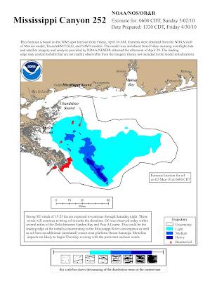 Read more about the article So wird laut NOAA der Ölteppich im Golf von Mexiko die Küste erreichen