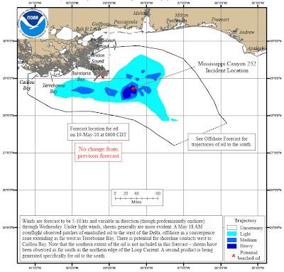Read more about the article Aktuelle Landkarte zur Ölkatastrophe im Golf von Mexiko: Der Ölteppich ist noch nicht an Land gekommen!