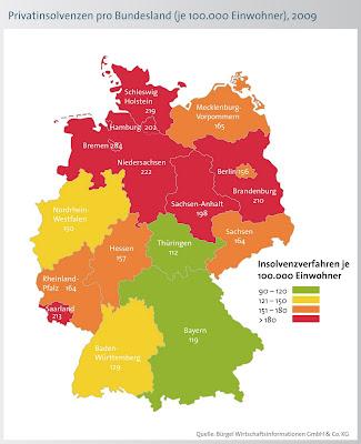 Read more about the article Deutschlandkarte zeigt Menge der Privatinsolvenzen in Deutschland