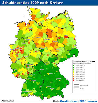 Read more about the article Deutschlandkarte zeigt wo und wie man in Deutschland verschuldet ist