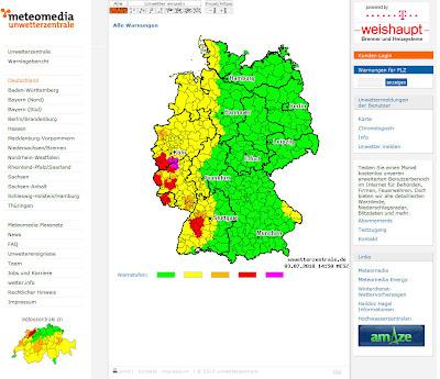 Read more about the article Unwetterzentrale warnt in Westdeutschland vor heftigen Gewittern. Vor allen Baden-Württemberg, Rheinland-Pfalz, Saarland und der NRW sind betroffen