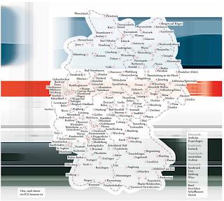 Read more about the article Deutschlandkarte: ICE Züge die nach Ortschaften genannt sind