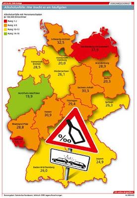 Read more about the article Deutschlandkarten zeigen Autounfälle in Deutschland, durch Alkoholeinfluss, Frauen, Bäume und Raser