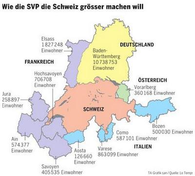 Read more about the article Wer hat es erfunden? Die SVP, größte Partei der Schweiz, will Baden-Württemberg, Elsass, Savoyen und Südtirol einschweizern