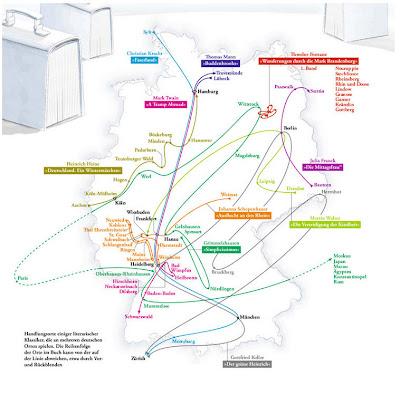 Read more about the article Deutschlandkarte zeigt die Reisen einzelner Literaturklassiker durch Deutschland