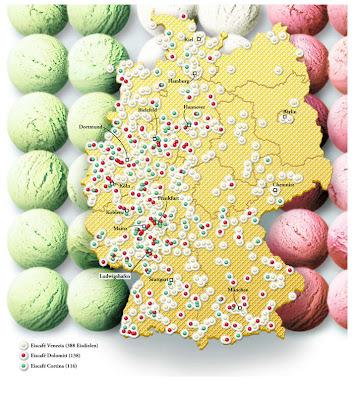 Read more about the article Deutschlandkarte zeigt italienische Eiscafés mit Namen Venezia, Cortina und Dolomiti