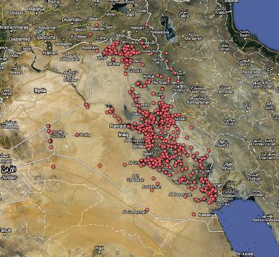 Read more about the article Einzigartig und Schrecklich !!! The Guardian zeigt eine Irakkarte mit allen Toten des Irakkrieges von 2004 bis 2009