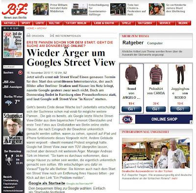 Read more about the article BZ spekuliert mit Start von Google Streetview Deutschland für Donnerstag 18. November 2010