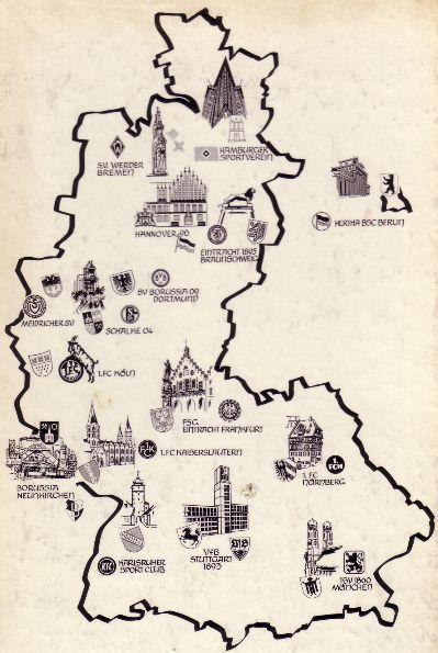 Read more about the article Deutschlandkarte der Fußball-Bundesliga von 1964
