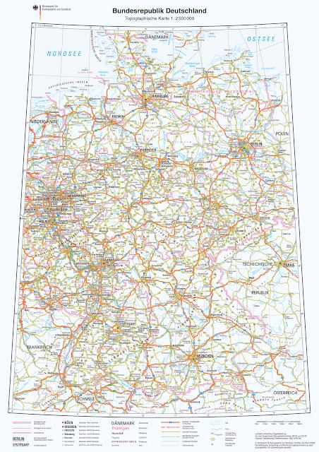 Read more about the article Online: Topographische Straßenkarte von Deutschland 1:2.500.000 zum Download