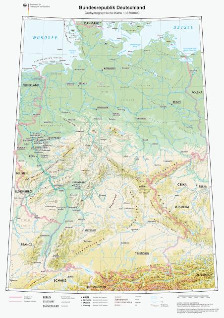 Read more about the article Online: Physischekarte von Deutschland 1:2.500.000 (Orohydrographische Karte)