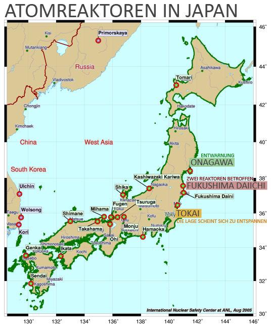 Read more about the article Atomare Gefahr scheint nur noch von den Atomreaktoren 1 und 2 vom Atomkraftwerk Fukushima Daaichi zu kommen