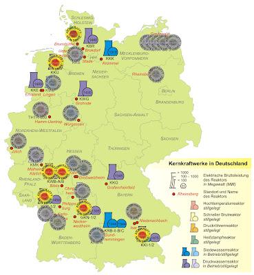 """Read more about the article Übersichtskarte aller für die """"Sicherheitsüberprüfung"""" vom Netz getrennten und aktiven Atomkraftwerke in Deutschland"""