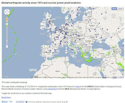 Read more about the article Interaktive Weltkarte der Erdbebengebiete um Atomkraftwerke der Welt