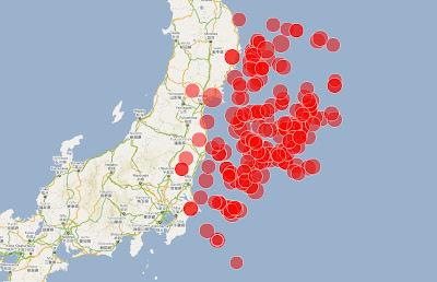 Read more about the article Übersichtskarte aller Erdbeben vor der Küste Japans