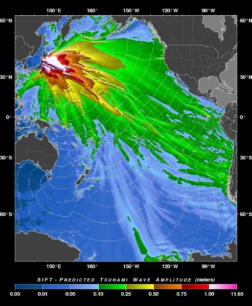 Read more about the article NOAA veröffentlicht Tsunamikarte für den Pazifik – viele Nordpazifikinseln, Hawaii und Galapagos bekommen Wellen ab