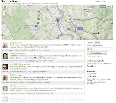Read more about the article Twitter Nano zeigt alle aktuellen Tweets aus einem gewünschten Gebiet