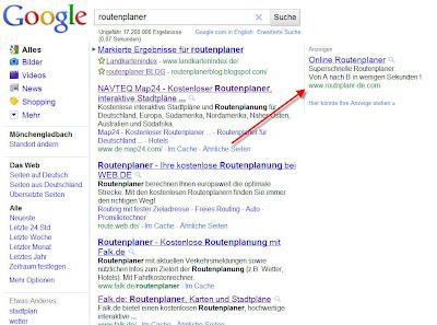 Read more about the article Google kassiert weiter kräftig Geld durch Werbeeinnahmen der Routenplanabzockerfirma Webtains
