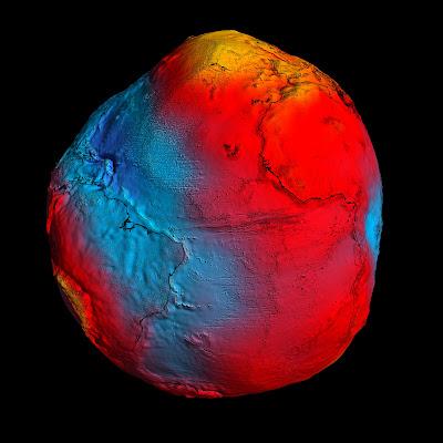 Read more about the article Entdecken Sie auf großen Bildern vom Satelliten Goce, die unterschiedliche Erdgravitation auf der Erde