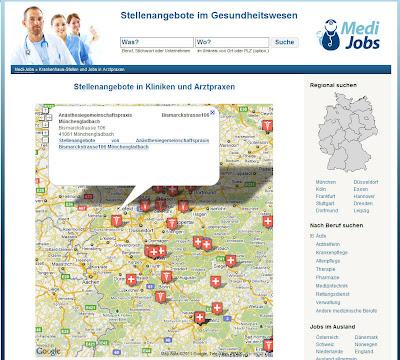 Read more about the article MediJobs zeigt auf einer Landkarte Stellenangebote in Kliniken und Arztpraxen