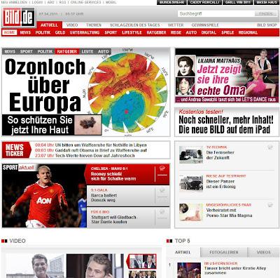 Read more about the article Die BILD-Zeitung sieht ein Ozonloch über Europa wo keins ist