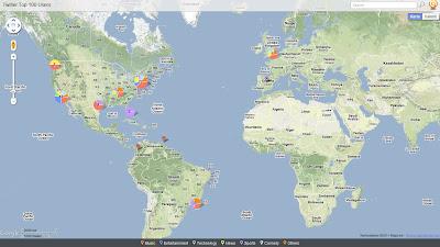 Read more about the article Weltkarte der 100 größten Twitterer
