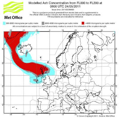 Read more about the article Vulkanausbruch mit Folgen! Offizielle Vorhersagekarten zeigen das die Aschewolke heute Nacht Nordeuropa für den Flugverkehr beeinträchtigen wird!
