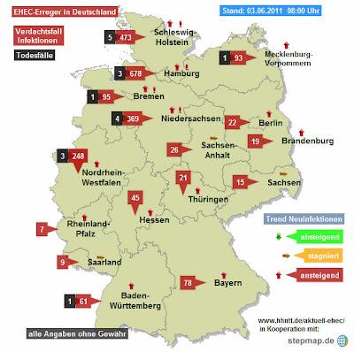 Read more about the article Aktuelle EHEC Deutschlandkarte zeigt immer noch deutlichen Anstieg der Fälle!