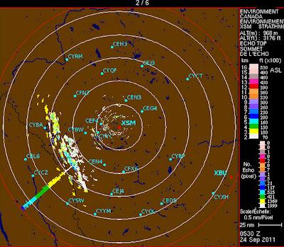 Read more about the article Wetterradar von Calgary zeigt eventuell den abstürzenden UARS-Satelliten