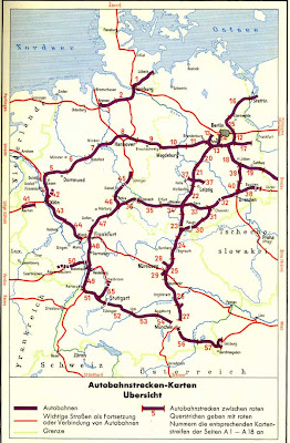 Read more about the article Deutschlandkarten nach dem 2. Weltkrieg zeigen das gebaute und geplante Autonbahnnetz bis 1966