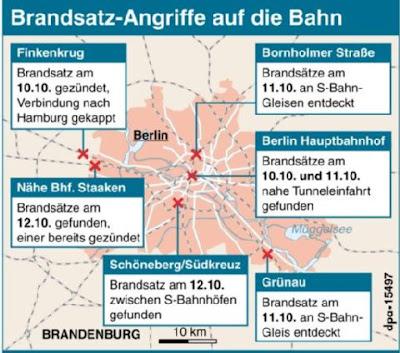 Read more about the article Landkarte der Brandanschläge auf die Bahnstrecken in Berlin