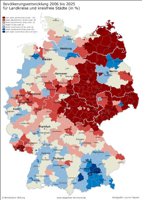 Read more about the article Deutschlandkarte von 2025 zeigt wo Deutschland bis dahin altert