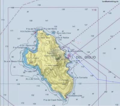 Read more about the article Seekarten der Insel Giglio zeigen den fatalen falschen Kurs der Costa Concordia