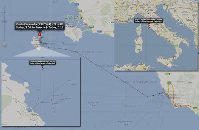 Read more about the article Schifftracker Gemitrafik zeigt vollständige Route der Costa Concordia und wie das Schiff eingezeichnete Felsen rammte