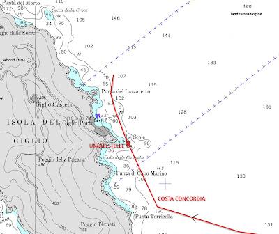 Read more about the article Die vollständige Route der Costa Concordia vor der Küste Giglio