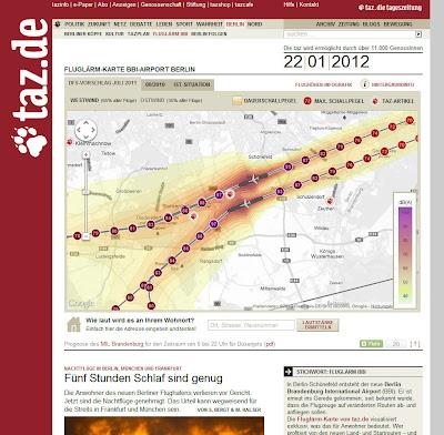 Read more about the article taz zeigt auf einer Fluglärmkarte wie Laut der BBI-Airport für die Berliner und Brandenburger ist
