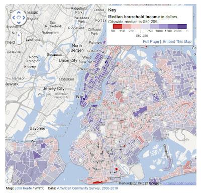 Read more about the article Einkommenskarte von New York zeigt das die Metropole kaum Einkommensschwache Gebiete hat