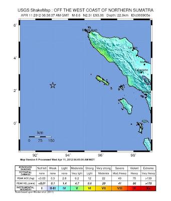 Read more about the article USGS ShakeMap von Sumatra deutet auf geringe Schäden in Indonesien an