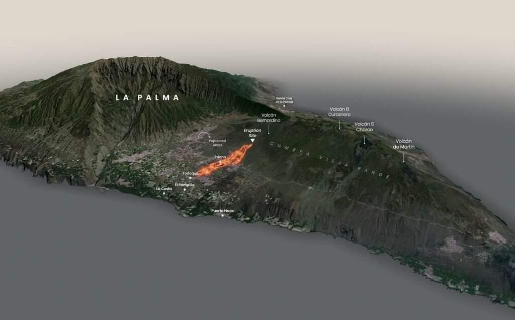 Read more about the article Animation zeigt die Lavamassen auf La Palma, die jetzt schon weit über 400 Häuser zerstört hat