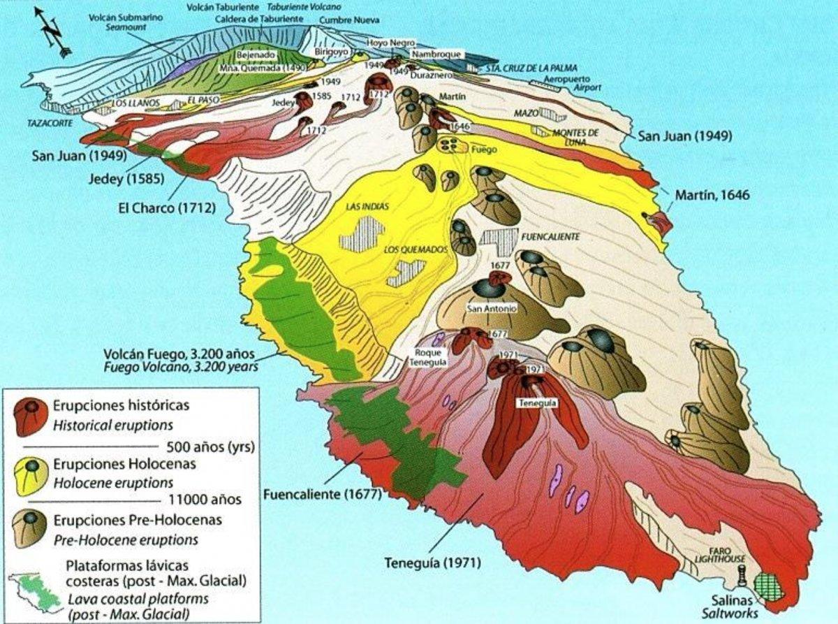 Read more about the article La Palma – Übersichtskarte aller Vulkanausbrüche