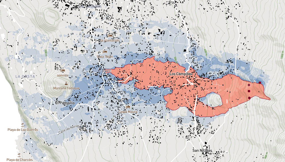 Read more about the article Karte von La Palma zeigt die von der Lava zerstörten Gebiete bei Los Campitos, Triana und El Pampillo